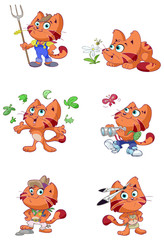 a Cute red cat nature vector set