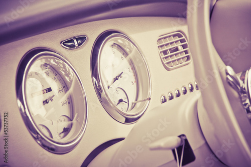 Interior of car in retro style