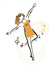 la chica y la música