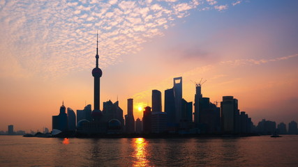 Shanghai Sunrise Time Lapse(Zoom In)