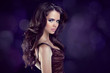 Wavy Hair. Beautiful Elegant Brunette Woman. Healthy Long Brown