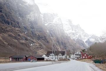 Village of Gudvangen. Fog is in mountains