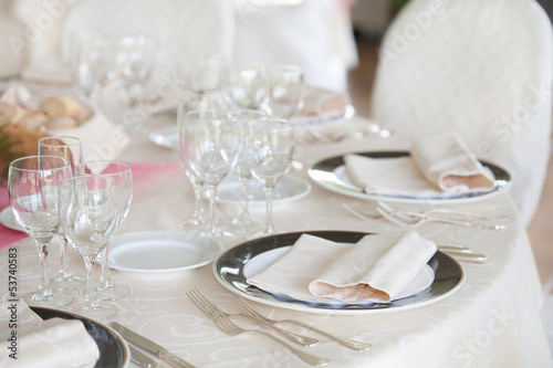 table prepared for the wedding