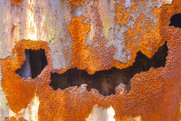 pattern of rusty metal of an old chimney