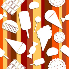 Seamless pattern: sweets. Chocolate, candy, ice cream, cake