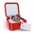 Gift box with house. Real estate concept.