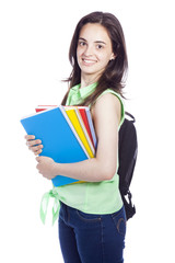Smiling female student looking at camera, isolated on white