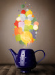 Coffee pot with colorful speech bubbles
