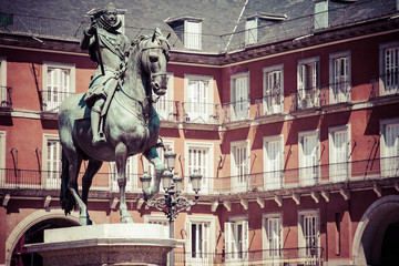 statue of King Philip III from 1616,Plaza Mayor,Madrid,Spain