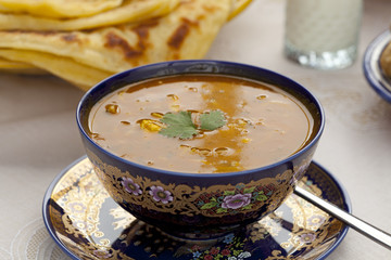Cup of Moroccan harira soup