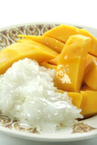 Thai Mango with Sticky Rice and Coconut Sauce Dessert