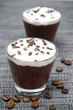 two glasses of chocolate and coffee mousse with whipped cream