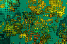 Vibrant stained-glass background - emerald with gold.