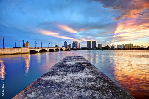 West Palm Beach Florida Skyline at Sunset