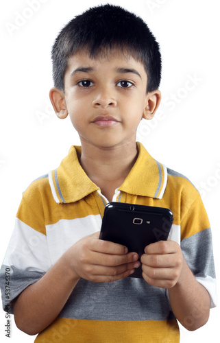 Indian Little Boy With Cellphone