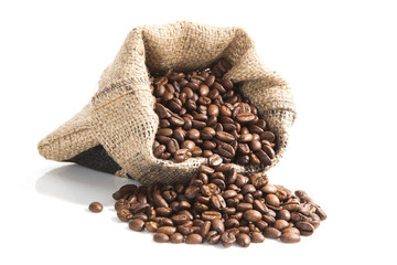 coffee beans in brown bag.