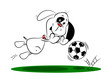 A cartoon dog diving to save a football whilst playing soccer