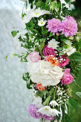 beautiful wedding setup with flowers on white background