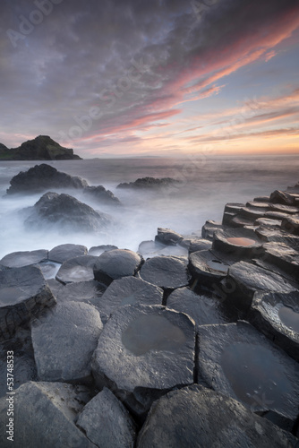 Poster Sundown over The Giants Causeway, North Ireland