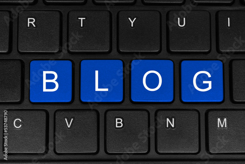 The word blog made of four blue buttons