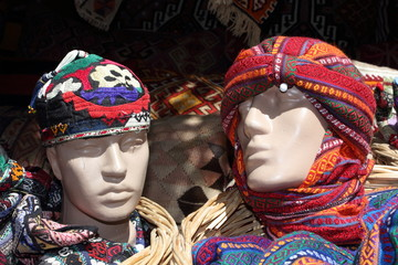 Turkish mannequins with traditional head gear in a local bazaar