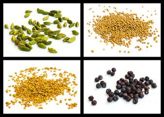 Yellow mustard seed, seed of hay greek, cardamom, juniper