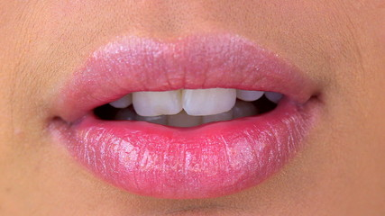 Extreme close up of woman's lips