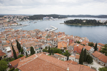 Aerial view on Rovinj and it's harbour