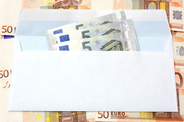 Euro  money in an envelope and cash background