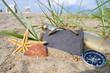 Kreidetafel mit Strandgut