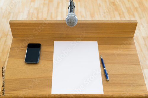 Speech podium with a microphone. First person view