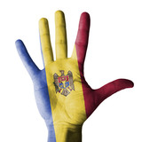 Hand raised with Moldova flag painted - isolated