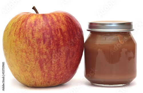 Apple and  Bank of baby food