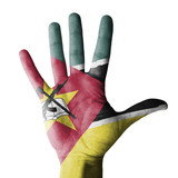 Hand raised with Mozambique flag painted - isolated