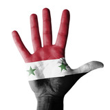 Hand raised with Syria flag painted - isolated