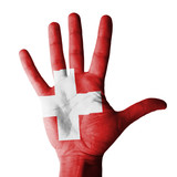 Hand raised with Switzerland flag painted - isolated