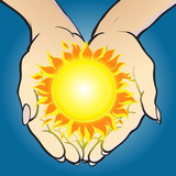 Hands giving and holding sun