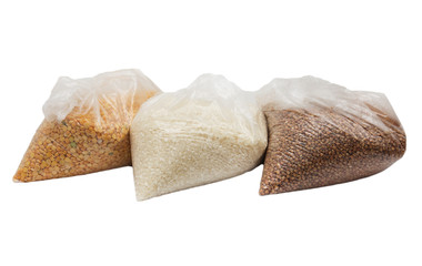 buckwheat, rice and peas in a plastic bag