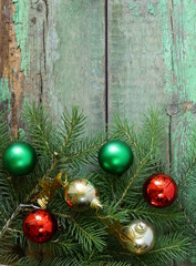 Christmas wooden background is green fir tree  branches