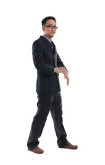 Successful young business man of Asian, full length portrait iso