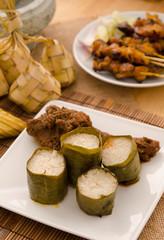 ramadan food  lemang rendang ,focus on lemang