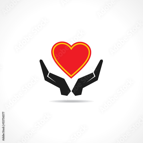 Hand protectinga heart icon vector