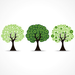 set of trees forming by green recycle icons