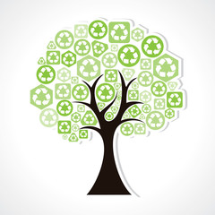 Green recycle  icons forming a tree
