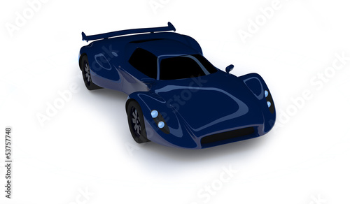 Blue race car isolated