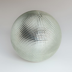 Silver Shining Disco Ball On White Background