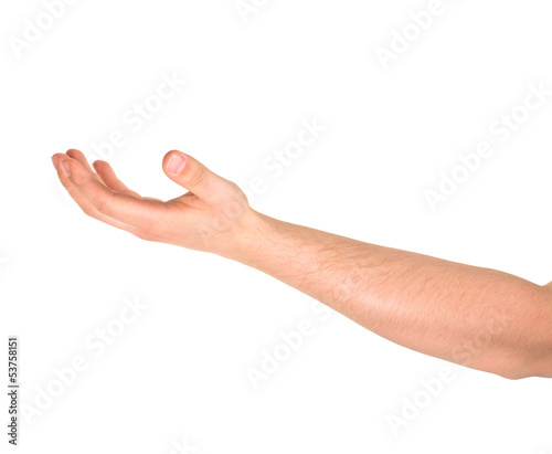 Begging hand gesture isolated