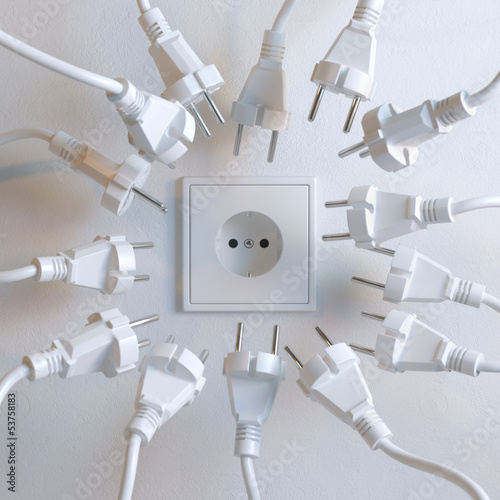 Socket And Plugs in White Interior (Conceptual Leadership)