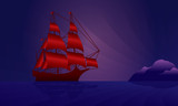 Sailing ship on the night skyline
