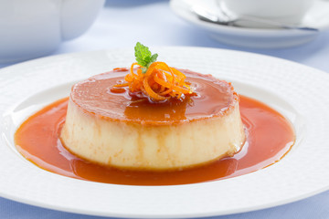 Creme caramel from oranges and cream.